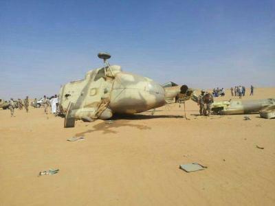 سقوط طائرة مروحية بمديرية عسيلان بمحافظة شبوة