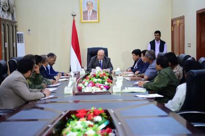 الرئيس هادي يعقد اجتماعاً بمحافظي اقليم عدن ومدراء الأمن ( صوره)