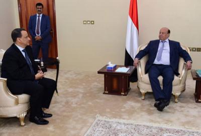 ولد الشيخ يستلم من الرئيس هادي رؤية الحكومة لخطة السلام