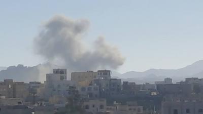 غارات جوية وإنفجارات تهز العاصمة صنعاء (  صور - المنطقة المستهدفة )