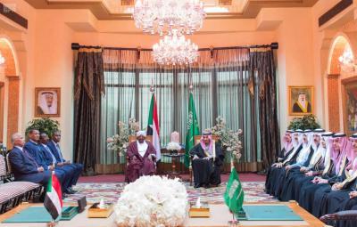 جلسة مباحثات رسمية بين الملك السعوي سلمان بن عبد العزيز والرئيس السوداني عمر البشير