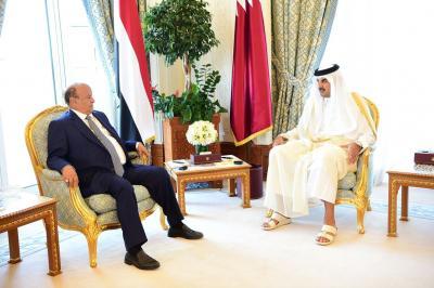 دعم البنك المركزي اليمني بوديعة نقديه أبرز أهداف زيارة الرئيس هادي لدولة قطر