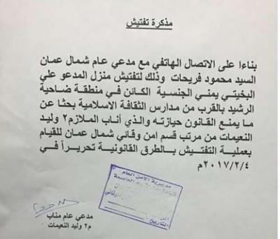 علي البخيتي يتعرض للإعتقال ومداهمة شقته من قبل الأمن الأردني
