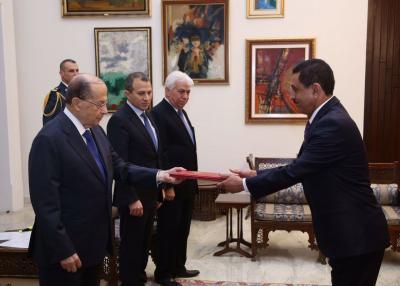 الرئيس اللبناني يتسلم أوراق اعتماد سفير اليمن