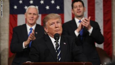 ترامب يفاجئ الكونغرس ويجدد نفسه بخطاب تصالحي : أترأس أمريكا وليس العالم