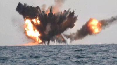 بالفيديو .. لحظة تدمير القوات السعودية لزورق مفخخ تابع للحوثيين كان يستهدف محطة تكرير البترول التابعة لآرامكوا في جازان