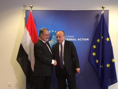 المخلافي يلتقي الأمين العام المساعد للشئون السياسية لجهاز العمل الخارجي بالاتحاد الاوربي