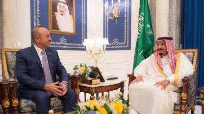 الملك سلمان يبحث مع وزير الخارجية التركي الأزمة الخليجية