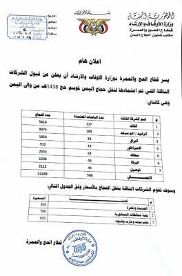 وزارة الأوقاف تعلن أسماء الشركات المعتمدة لنقل الحجاج اليمنيين ( صوره)