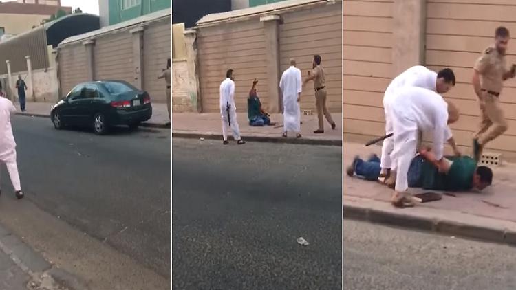 فيديو.. الشرطة تلقي القبض على مصري في حالة هيستيرية عقب قتله بالسكين زوجته اللبنانية في الكويت