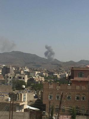 غارات جوية تستهدف العاصمة صنعاء ( صوره - المواقع المستهدفة )