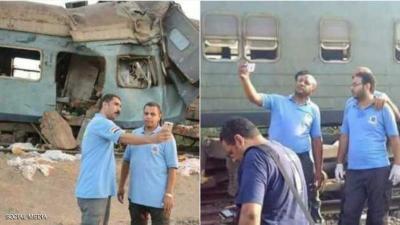 """غضب في مصر بسبب """"سيلفي"""" منقذي ضحايا قطاري الاسكندرية ( صوره)"""
