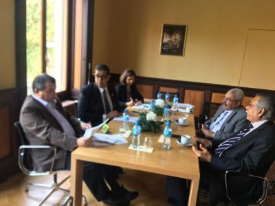 نائب رئيس مجلس النواب يلتقي رئيس اتحاد البرلمان الدولي في جنيف ( صوره)