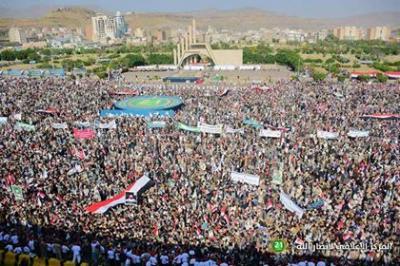 شاهد بالصور .. حشد الحوثيين اليوم بميدان السبعين