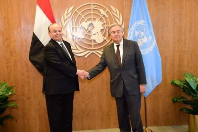 الرئيس هادي يلتقي الأمين العام للأمم المتحدة ( صور)