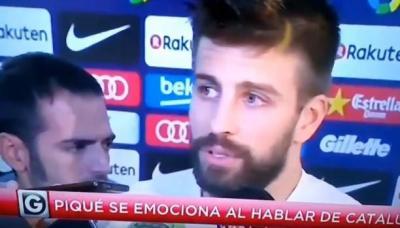 """اللاعب """" بيكيه """" يذرف الدموع حزناً على كتالونيا ومستعد للاعتزال"""