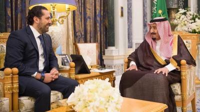 """الملك سلمان يستقبل رئيس الوزراء اللبناني المستقيل """" سعد الحريري"""""""