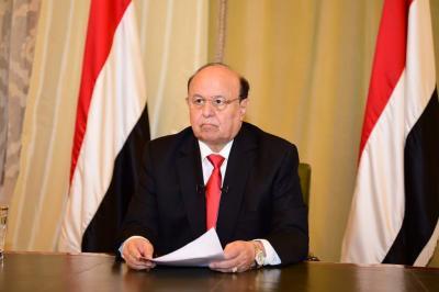 """الرئيس هادي يدعوا الشعب اليمني إلى الإنتفاض في وجه الحوثيين ويصف الرئيس السابق """" صالح """" بـ """" الشهيد """""""
