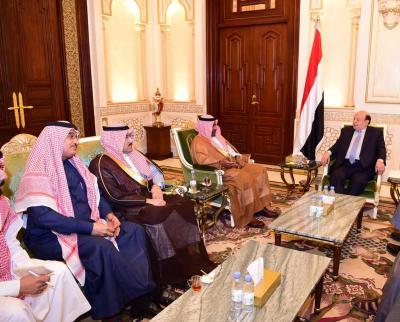 الرئيس هادي يناقش مع اللواء أحمد عسيري والسفير السعودي لدى اليمن الخطوط العريضة لإعادة إعمار اليمن