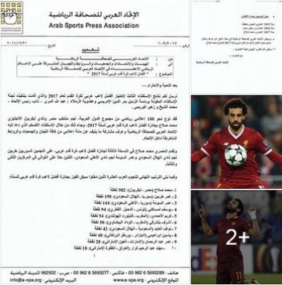المصري محمد صلاح أفضل لاعب عربي لعام 2017