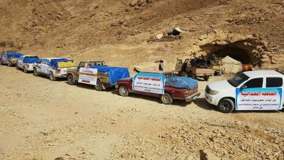 أهالي حضرموت يرسلون قافلة غذائية للمرابطين في جبهات الجوف