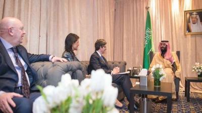 ولي العهد السعودي يناقش الأزمة اليمنية مع ممثلي الدول الخمس الدائمة العضوية في مجلس الأمن