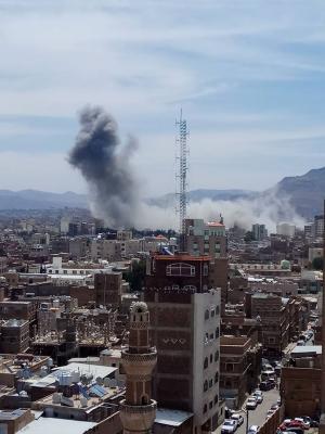 غارات جوية تستهدف وسط العاصمة صنعاء ( صور)