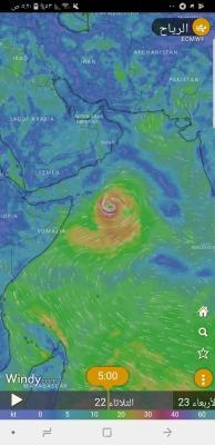 تحذير هام  من الأرصاد بشأن الإعصار القادم المتجه صوب السواحل اليمنية والذي بدأ يضرب سقطرى