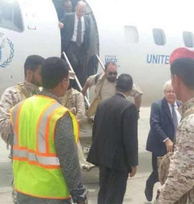 وصول المبعوث الدولي مارتن جريفيث إلى عدن