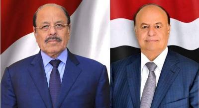 الرئيس هادي يجري اتصالاً هاتفياً بنائبه ويعزيه في استشهاد العميد الركن محمد صالح الاحمر
