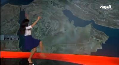 بالفيديو.. مذيعة «العربية» «تتزحلق» خلال قراءة أخبار الطقس