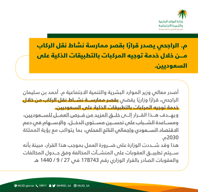 السعودية تقصر مهنة جديدة على السعوديين فقط وتحذر المخالفين
