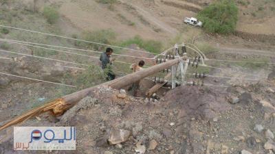 إعتداء تخريبي يطال خطوط نقل الكهرباء و الثاني من نوعه خلال أسبوع يغرق إحدى المحافظات اليمنية بالظلام