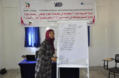 """بالشراكة مع منظمة شركاء اليمن .. المؤسسة التنموية للشباب تبدأ تدريب 30 متطوعة من أعضاء الحملة الدولية للمرأة- الواني ضمن مشروع """"أصوات النساء 2"""""""