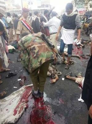 جماعة الحوثي تعلن ارتفاع عدد ضحايا التفجير الانتحاري  الذي استهدف تجمعاً للحوثيين بصنعاء
