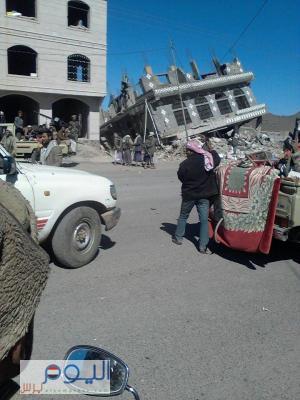 ( بالصور) الحوثيون يفجرون منزل القيادي في حزب الإصلاح الشيخ علي بدير بمدينة يريم