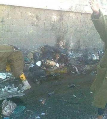 إرتفاع عدد قتلى تفجير شارع كلية الشرطة بصنعاء ( صور)