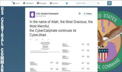 """تنظيم داعش يخترق """"تويتر ويوتيوب"""" الخاص بالقيادة المركزية الأمريكية ويكتب عبارة """" بسم الله الرحمن الرحيم"""" (صورة)"""