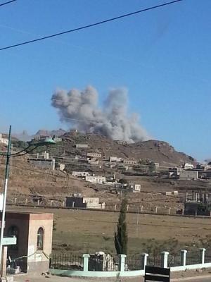 غارات جوية جديدة على مدينة يريم إستهدفت مواقع للحوثيين