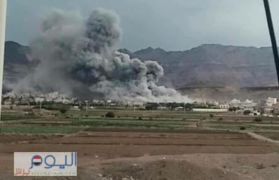 قصف جوي لطيران التحالف يدمر منزل أحمد علي عبدالله صالح ( صورة )