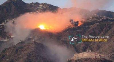 قصف جوي عنيف لطيران التحالف على مواقع للحوثيين بمحافظة تعز ( صور - المواقع المستهدفة)