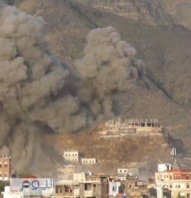 طائرات التحالف تقصف مواقع بتعز ( أسماء المواقع )