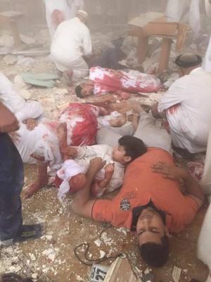 شاهد صور مروعة لقتلى التفجير الإنتحاري الذي إستهدف مسجداً في الكويت أثناء صلاة الجمعة