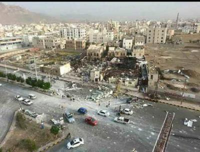 شاهد صورة واضحة لقاعة الخيول بعد إستهدافها بالعاصمة صنعاء
