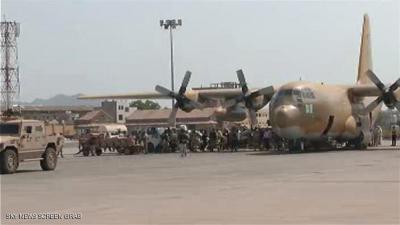 شاهد بالصورة طائرة سعودية تهبط بمطار عدن