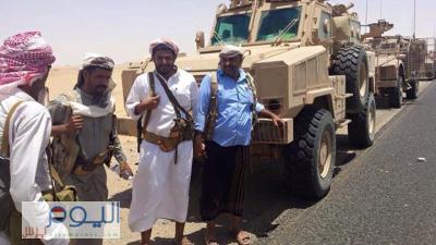 شاهد بالصور لحظة وصول قوة عسكرية ضاربة من التحالف إلى محافظة مأرب