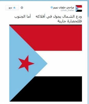 """ضاحي خلفان يستمر في فصل جنوب اليمن عن شماله ويضع علم """"الجنوب """"خلفيه لتغريداته وينسب الزنداني إلى إيران ( صورة)"""