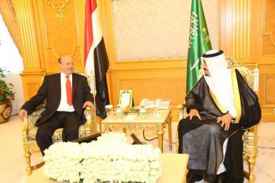 الرئيس هادي يلتقي الملك سلمان بحضور محمد بن نايف ومحمد بن سلمان بجده