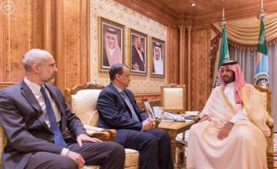 وزير الدفاع السعودي محمد بن سلمان يلتقي بالمبعوث الأممي إلى اليمن ولد الشيخ ( صور)