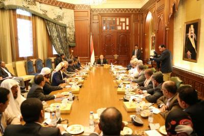 الرئيس هادي يجتمع بالهيئة الإستشارية لمؤتمر الرياض ( صورة)